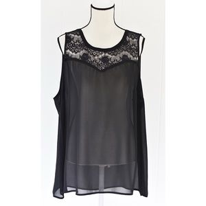 Torrid Sleeveless Button Back Top Sheer Black Sz 2